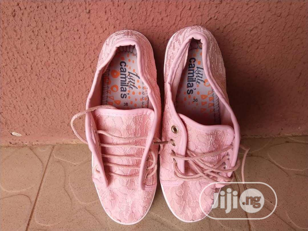 Girls Lace-Up Pink Sneakers (Teen)