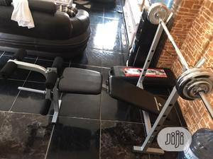 Bench Press With 50kg Barbell Weight | Sports Equipment for sale in Lagos State, Surulere