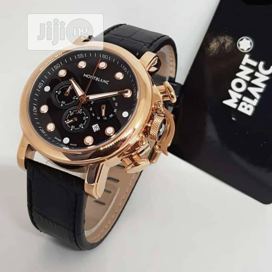 Montblanc Chronograph Rose Gold Leather Strap Watch
