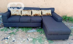 L-Shaped Sofa Chair With Throw Pillows. Fabric Couch | Furniture for sale in Lagos State, Ikorodu