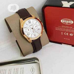 Fossil Chronograph Rose Gold Leather Strap Watch | Watches for sale in Lagos State, Lagos Island (Eko)