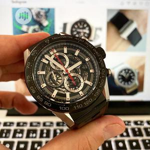TAG Heuer Chronograph Silver/Black Rubber Strap Watch | Watches for sale in Lagos State, Lagos Island (Eko)