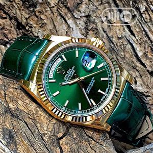 Rolex Oyster Perpetual Day-Date Gold Green Leather Strap Watch | Watches for sale in Lagos State, Lagos Island (Eko)