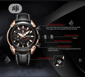 Megir Multi-Functional Men Genuine Leather Watch | Watches for sale in Lagos State, Ikoyi