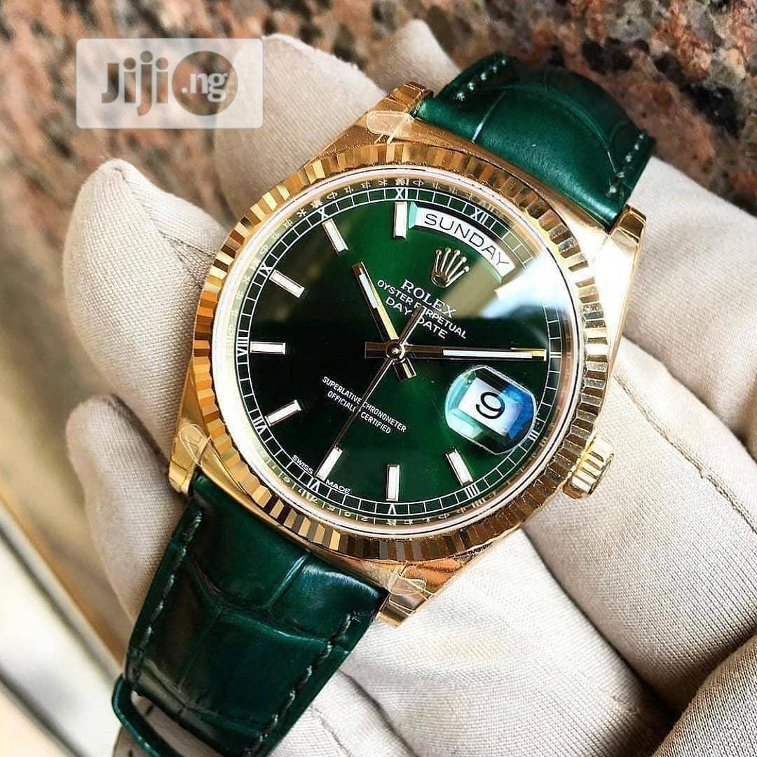 Rolex Oyster Perpetual Day-Date Gold Green Leather Strap Watch