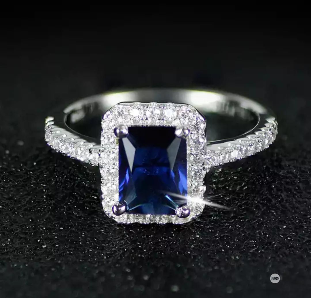 Blue Rock Silver Plated Engagement Ring