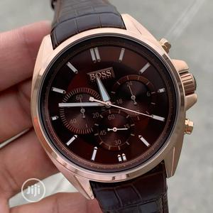 Boss Chronograph Rose Gold Leather Strap Watch | Watches for sale in Lagos State, Lagos Island (Eko)