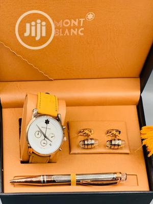 Montblanc Chronograph Rose Yellow Leather Watch/Pen and Cufflinks | Watches for sale in Lagos State, Lagos Island (Eko)
