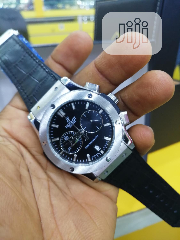 Hublot Chronograph Silver Leather Strap Watch | Watches for sale in Lagos Island (Eko), Lagos State, Nigeria