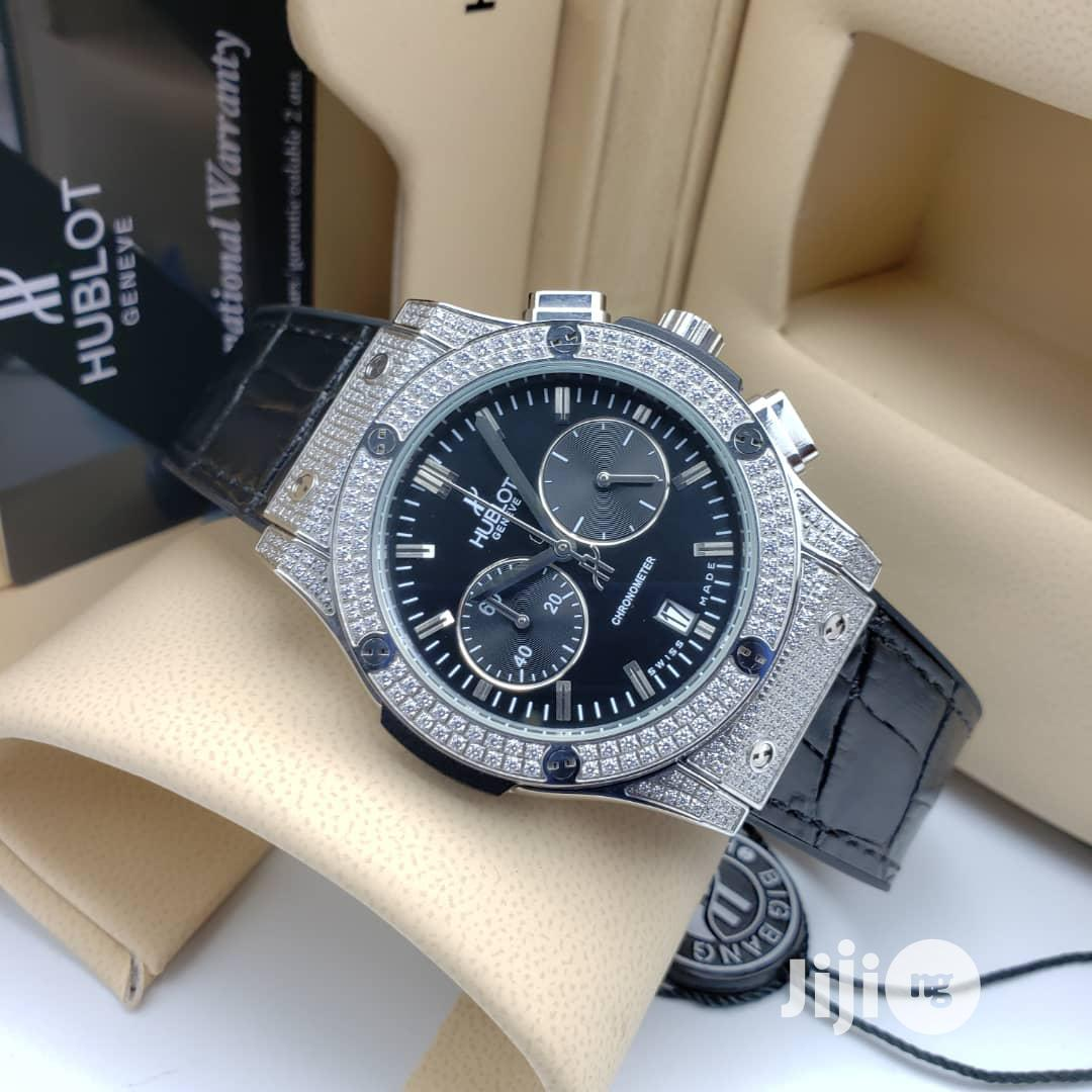 Hublot Chronograph Full Ice Silver Leather Strap Watch