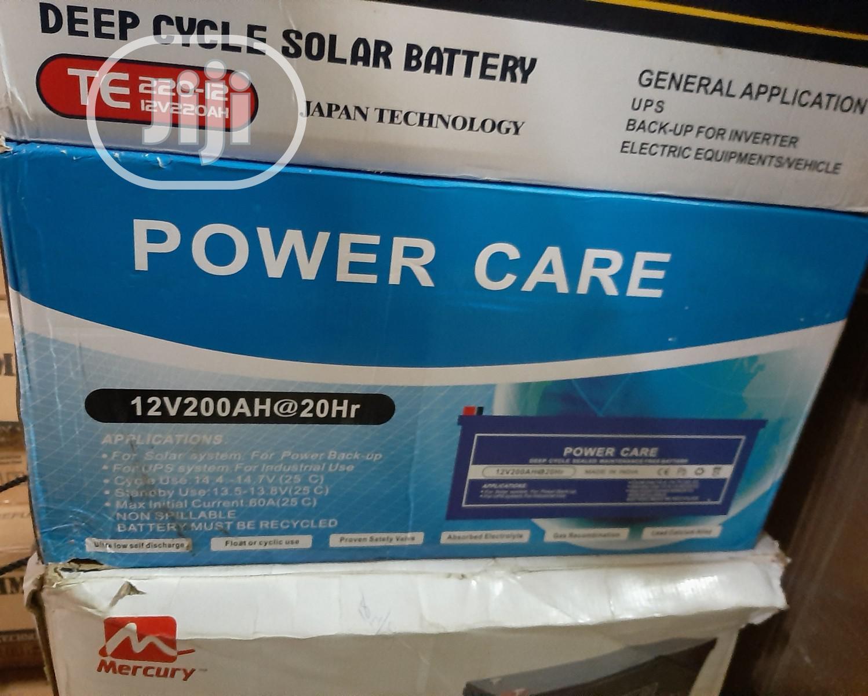 12V 200AH Power Care Solar Battery