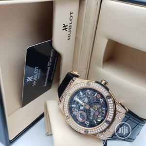 Hublot Automatic Chronograph Full Ice Silver Leather Strap Watch   Watches for sale in Lagos State, Lagos Island (Eko)