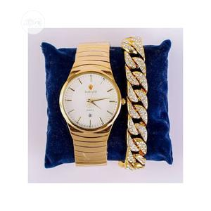 Lookworld Stone Iced Unisex Wristwatch With Hand Chain-gold   Watches for sale in Lagos State, Surulere