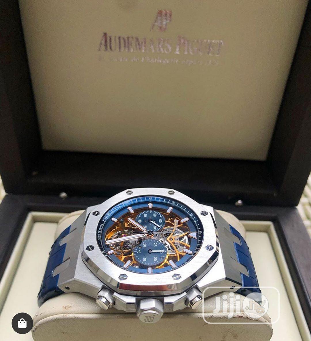 Audemars Piguet Automatic Chronograph Silver Blue Leather Strap Watch