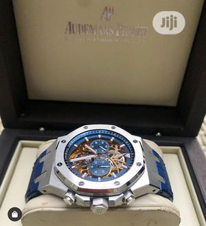Audemars Piguet Automatic Chronograph Silver Blue Leather Strap Watch | Watches for sale in Lagos State, Lagos Island (Eko)
