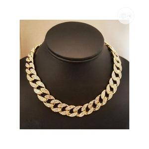 Gold Plated Finish Iced Out Miami Cuban Link Choker Chain   Jewelry for sale in Lagos State, Amuwo-Odofin