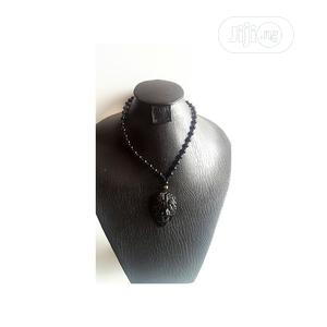 Mens Beaded Necklace With Lion Head Pendant Black   Jewelry for sale in Lagos State, Amuwo-Odofin