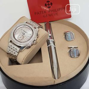 Patek Philippe Chronograph Silver Chain Watch/Pen and Cufflinks | Watches for sale in Lagos State, Lagos Island (Eko)