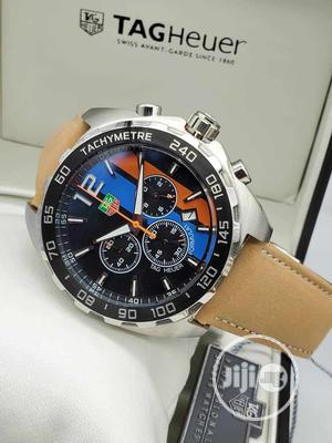 TAG Heuer Chronograph Silver/Black Leather Strap Watch | Watches for sale in Lagos State, Lagos Island (Eko)
