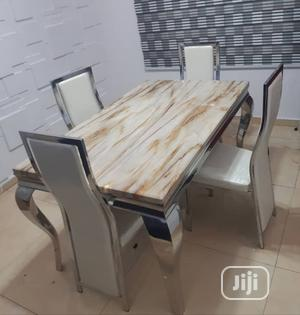 Affordable Quality Marble Dining Table With Four Chairs | Furniture for sale in Lagos State, Ibeju