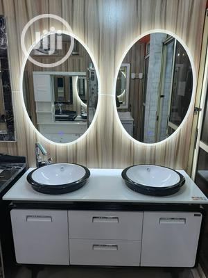 Italian Double Cabinet Wash Hand Basin With Double LED Mirror   Furniture for sale in Lagos State, Lekki