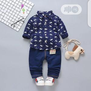 Boys Crown Printed Shirt and Trouser Set | Children's Clothing for sale in Lagos State, Surulere