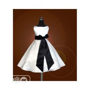 Girls Dress-White With Black Bow | Children's Clothing for sale in Lagos State, Ojodu