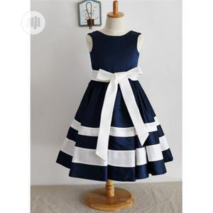 Girls Cute Dress-Navy Blue and White | Children's Clothing for sale in Lagos State, Ojodu