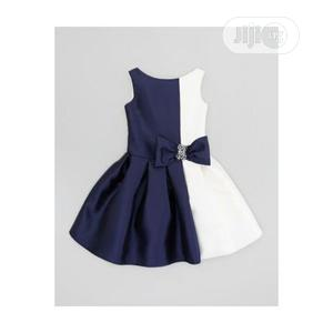 Girls Mid Length Half Body Dress-Navy Blue and White | Children's Clothing for sale in Lagos State, Ojodu