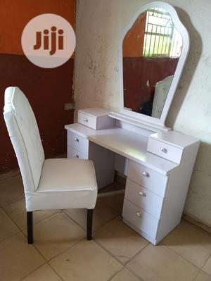 White Dresser Mirror And Classic Chair | Furniture for sale in Lagos State, Ikeja