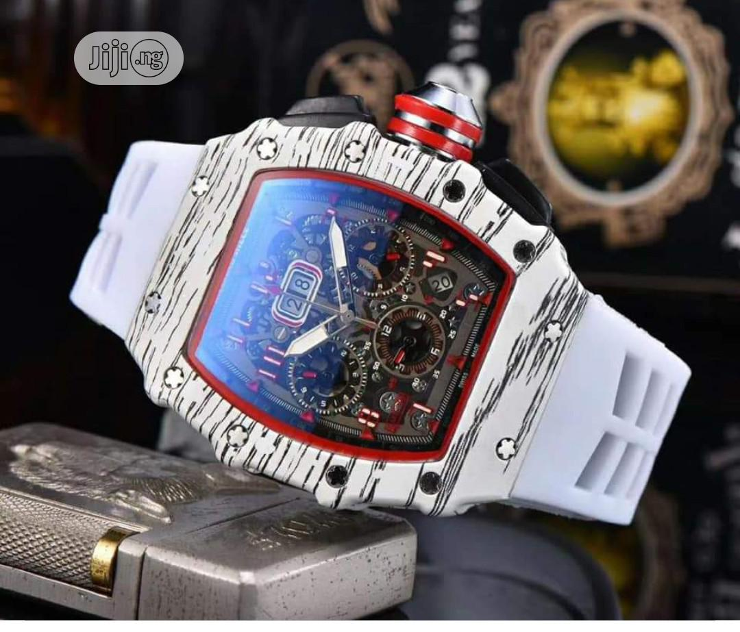 Richard Mille Men's White Rubber Wristwatch   Watches for sale in Surulere, Lagos State, Nigeria