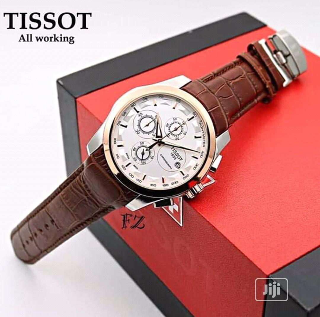 Tissot Men's Leather Wristwatch   Watches for sale in Surulere, Lagos State, Nigeria