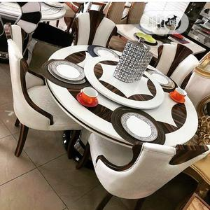 Marble Round Dining Table With 6 Chairs | Furniture for sale in Lagos State, Ikeja
