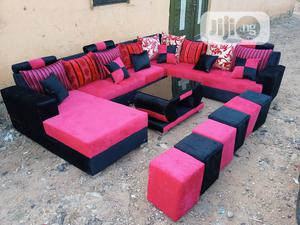U-Shape Sofa Chairs With Table and Stools. Fabric Couches | Furniture for sale in Lagos State, Ikeja