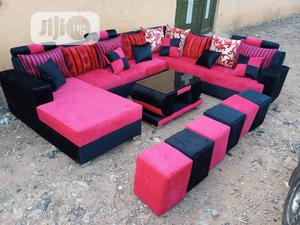 U-Shape Sofa Chairs With Table and Stools. Fabric Couches | Furniture for sale in Lagos State, Ikorodu
