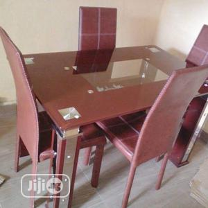 Quality Imported Glass Dining by 4 Chairs With Mirror Leg | Furniture for sale in Lagos State, Ojo