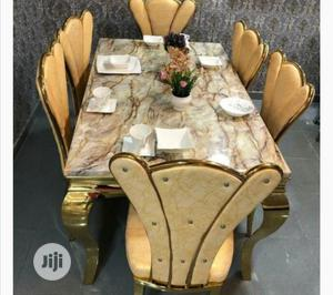 High Quality And Classic Golden Marble Dining By 6 Chairs | Furniture for sale in Lagos State, Ikeja