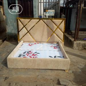 Bespoke Leather Padded Bed With Gold Design   Manufacturing Services for sale in Lagos State, Ikeja