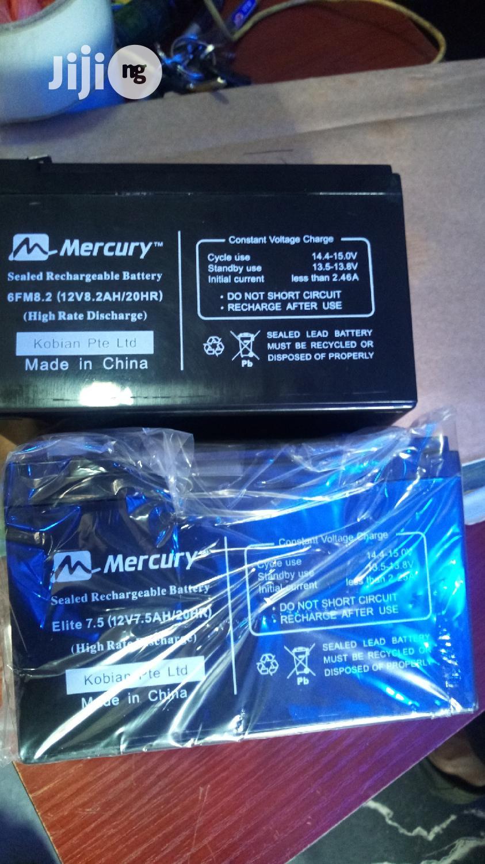 Mercury 12V 7.5ah UPS Battery | Solar Energy for sale in Ikeja, Lagos State, Nigeria