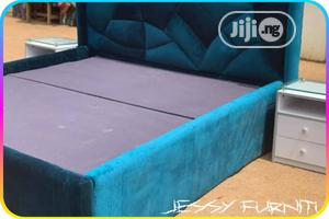 Teal Velvet Upholstered Bed Frame With Two Side Table With Glass Top | Furniture for sale in Lagos State, Ajah