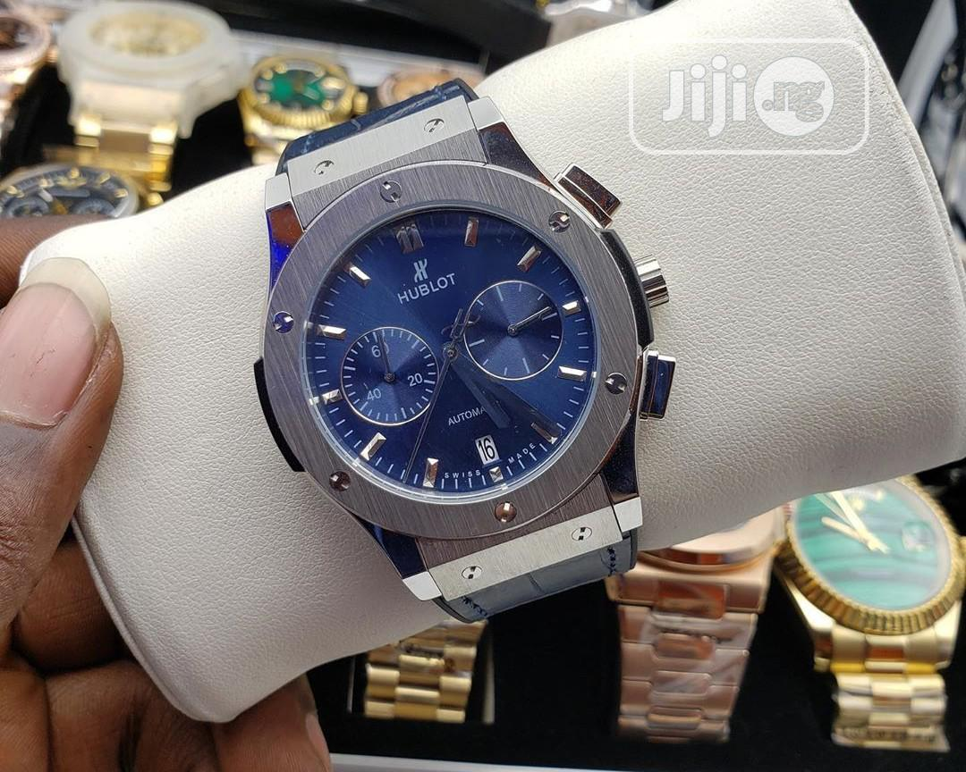 Hublot Chronograph Silver Blue Leather Strap Watch
