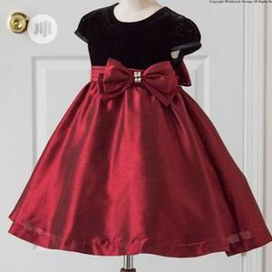 Girls Mid Length Dress With Bow -red And Black | Children's Clothing for sale in Lagos State, Ojodu