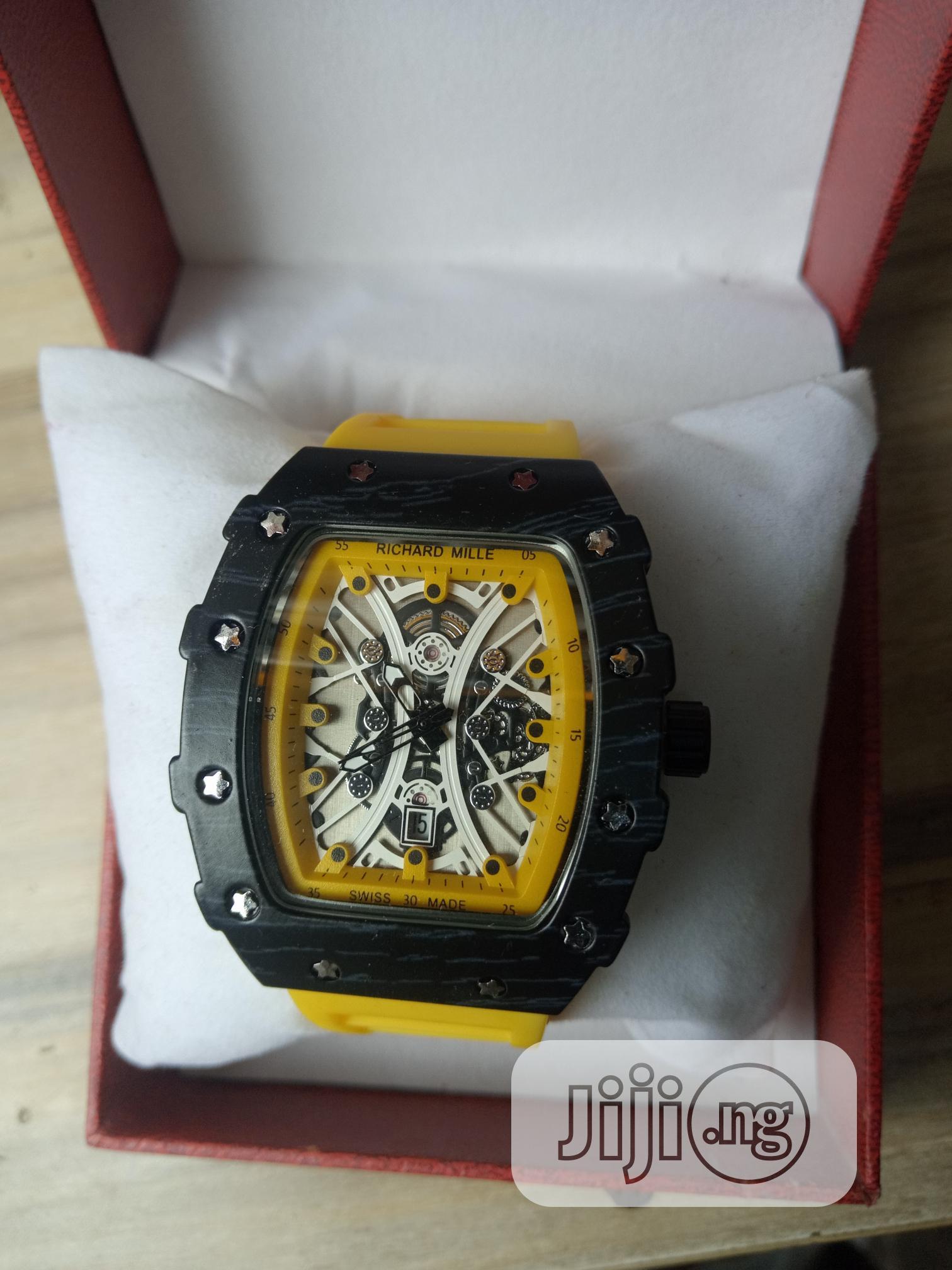 Richard Mille Men's Yellow Rubber Wristwatch