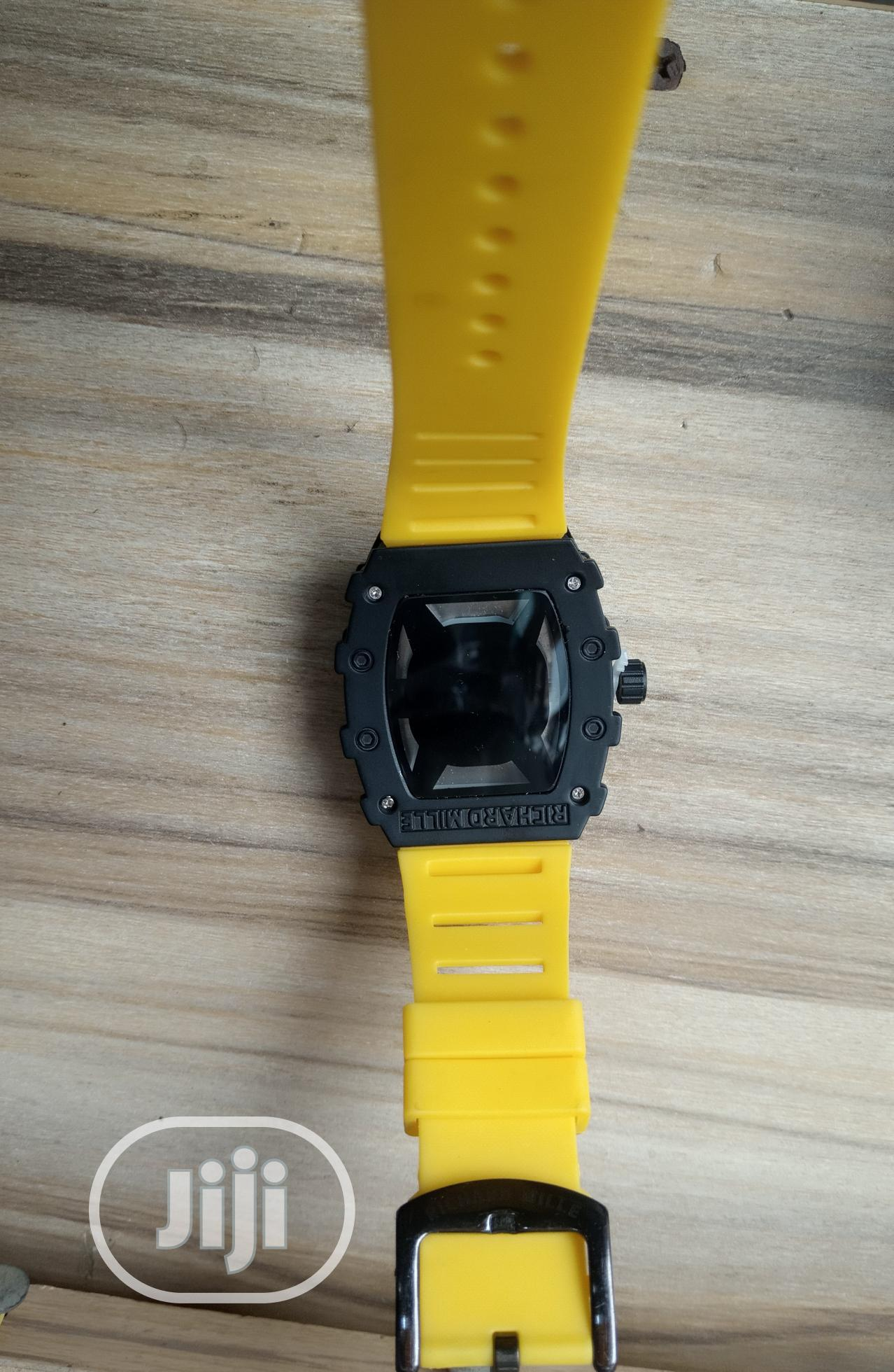 Richard Mille Men's Yellow Rubber Wristwatch   Watches for sale in Surulere, Lagos State, Nigeria