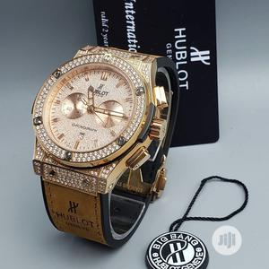 Hublot Ice Chronograph Rose Gold Leather Strap Watch | Watches for sale in Lagos State, Lagos Island (Eko)