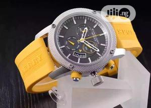 Burberry Chronograph Silver Yellow Rubber Strap Watch | Watches for sale in Lagos State, Lagos Island (Eko)