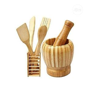 Wooden Set Spoons and Pestle N Mortal | Kitchen & Dining for sale in Lagos State, Lagos Island (Eko)
