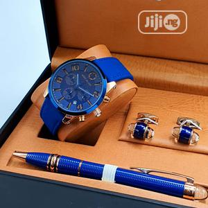 Montblanc Chronograph Blue Leather Watch/Pen and Cufflinks | Watches for sale in Lagos State, Lagos Island (Eko)
