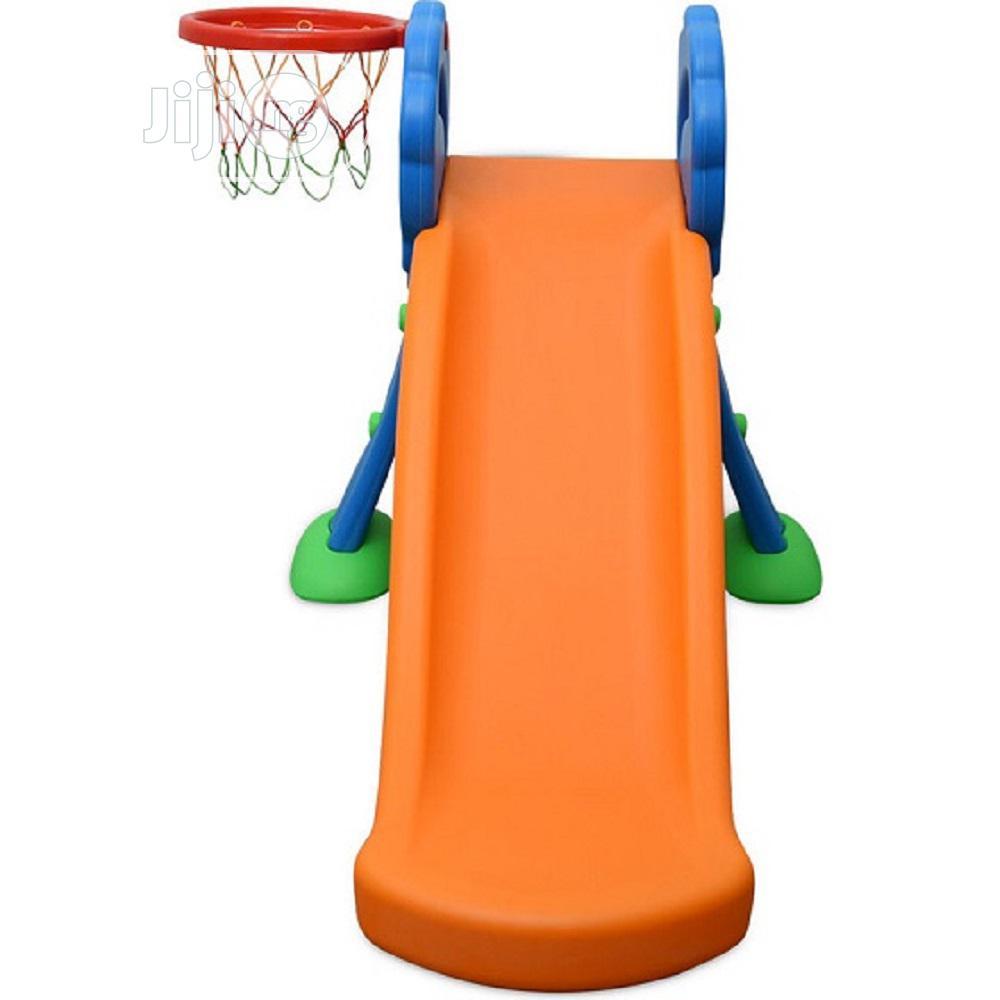 Children Playground Plastic Slides With Basketball Hoop(Blue