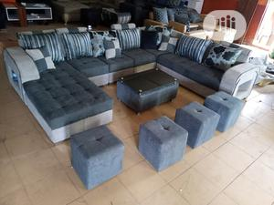 U-Shape Sofa Chairs With Table and Stools - Fabric Couch | Furniture for sale in Lagos State, Ojo